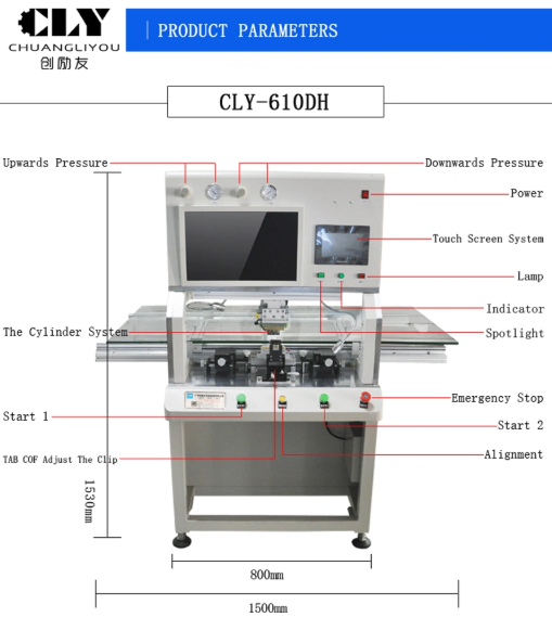 Tab Cof LCD TV ACF Bonding Machine Touch Screen Easy Button Operation